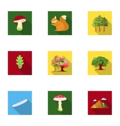 Forest set icons in flat style Big collection of vector image vector image