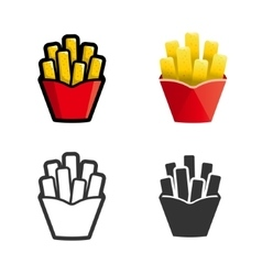 French fries colored icon set vector image vector image