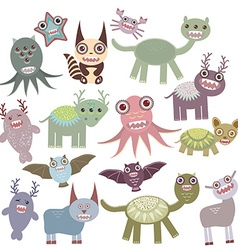 Funny monsters set big collection on white vector