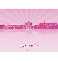 Granada skyline in purple radiant orchid vector