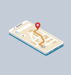 isometric smartphone with map navigation vector image vector image