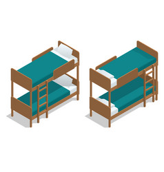 Isometric wooden two-storeyed bed vector