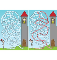 Knight and princess maze vector image vector image