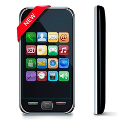 Mobile or smart phone with icons vector
