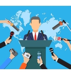 Press conference world live tv news interview vector image