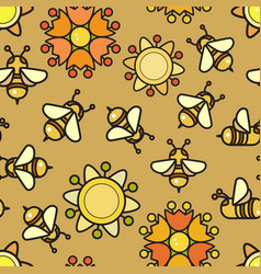 Seamless pattern included bee and flowe vector