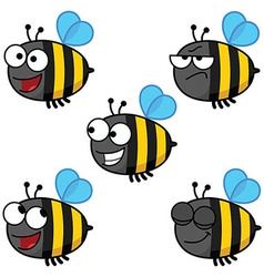 Set of cartoon bees-color vector