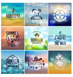 Summer designs on tropical beach backgrounds vector