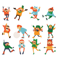 various kids playing and laughing isolated on vector image