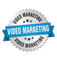 Video marketing round isolated silver badge vector