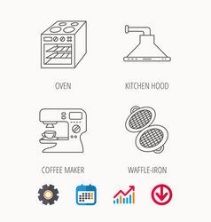 Waffle-iron coffee maker and oven icons vector