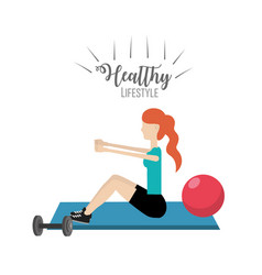 Woman healthy lifestyle to do exercise vector