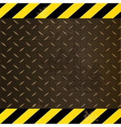 Metallic diamond plate with yellow and black edges vector