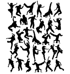 Modern dancing hobbies silhouettes vector