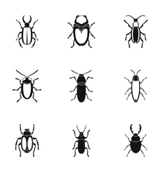 Crawling beetles icons set simple style vector