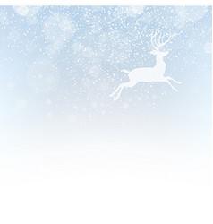 Christmas deer on snowfall background Isolated vector image
