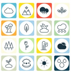 Set of 16 ecology icons includes sunshine sunny vector