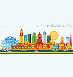 buenos aires skyline with color landmarks and vector image