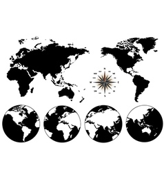 Black world map and compass vector