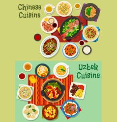 Chinese and uzbek cuisine asian dinner icon set vector
