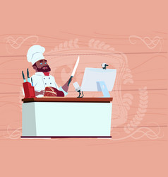 african american chef cook making video blog vector image