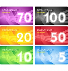 Set of discount card templates vector