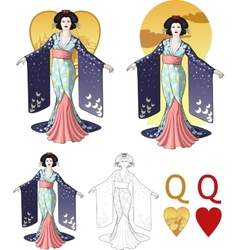 Queen of hearts asian actress mafia card set vector