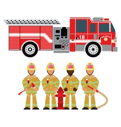 Fire truck and fireman yellow 1 vector