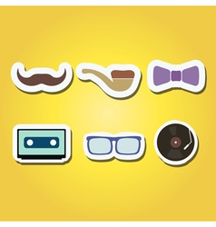 Color icons with different hipster objects vector