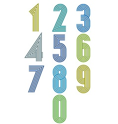 Striped funky numbers set vector