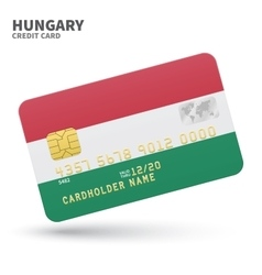 Credit card with hungary flag background for bank vector
