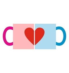 Valentine day couple cups icon vector