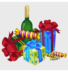 Gift boxes bottle of wine and candy festive set vector
