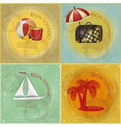 set of Vintage travel postcard vector image