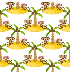 Monkey on island kid seamless pattern for vector