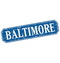 Baltimore blue square grunge retro style sign vector