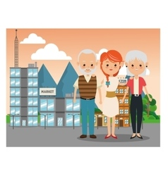 Grandparents with daughter icon family design vector