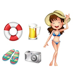 A lifebuoy pair of slippers mug of beer camera and vector image vector image