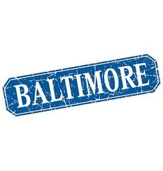 Baltimore blue square grunge retro style sign vector