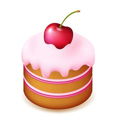 Birthday Cake With Cherry vector image vector image