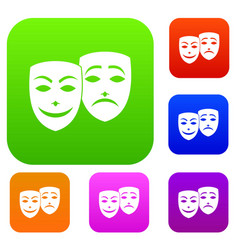 Carnival mask set collection vector