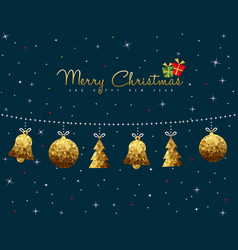 christmas and new year gold low poly ornament card vector image vector image