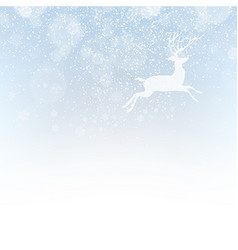 Christmas deer on snowfall background Isolated vector image