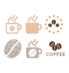 Coffee cups and logo composition with vector image