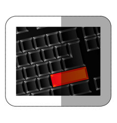 Computer keyboard with red button vector