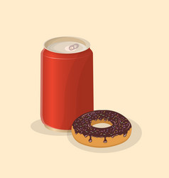 donut with soda in a tin can - cute cartoon vector image vector image