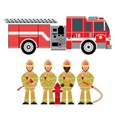 Fire truck and fireman yellow 1 vector