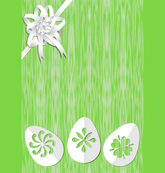 Green easter background with white ribbon rosette vector