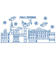 Italy potenza winter city skyline merry vector