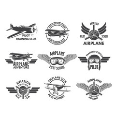 labels design template with pictures of airplanes vector image